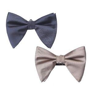 Mens Over Sized Satin Tuxedo Pre-Tied Bow Tie 2pc
